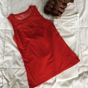 Express red lace top, xs